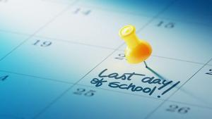 Calendar with last day of school