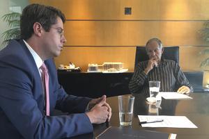 Tim Szarnicki talking to John A. Sobrato