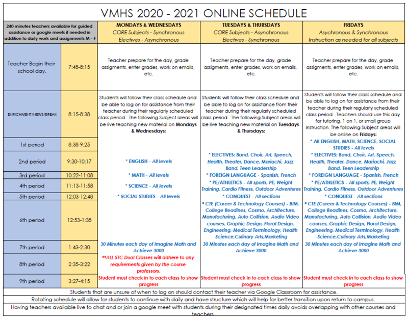 Updated Virtual Instruction Bell Schedule Featured Photo