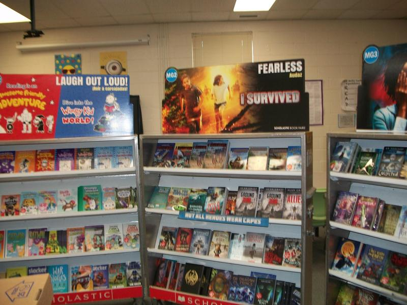 Picture of book fair shelves.