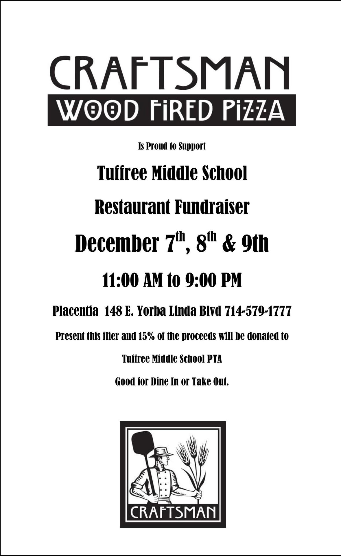 Craftsman Pizza fundraiser flyer