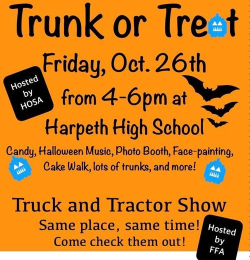 Trunk or Treat, Friday, October 26th from 4-6pm