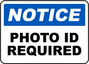 Clipart stating photo ID required.