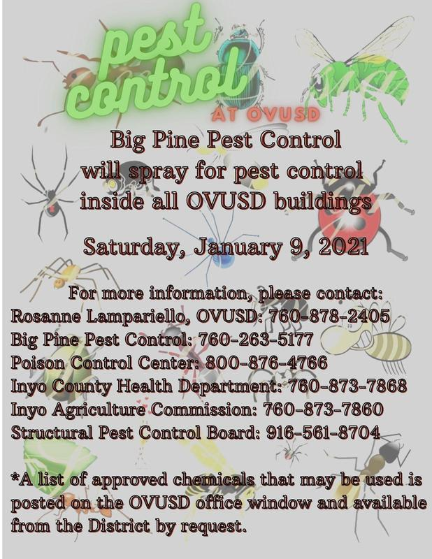 Flyer for pest control spraying @ OVUSD on Saturday, 1/9/21