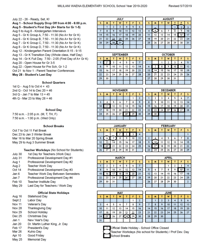SY 2019-2020 Calendar Available Featured Photo