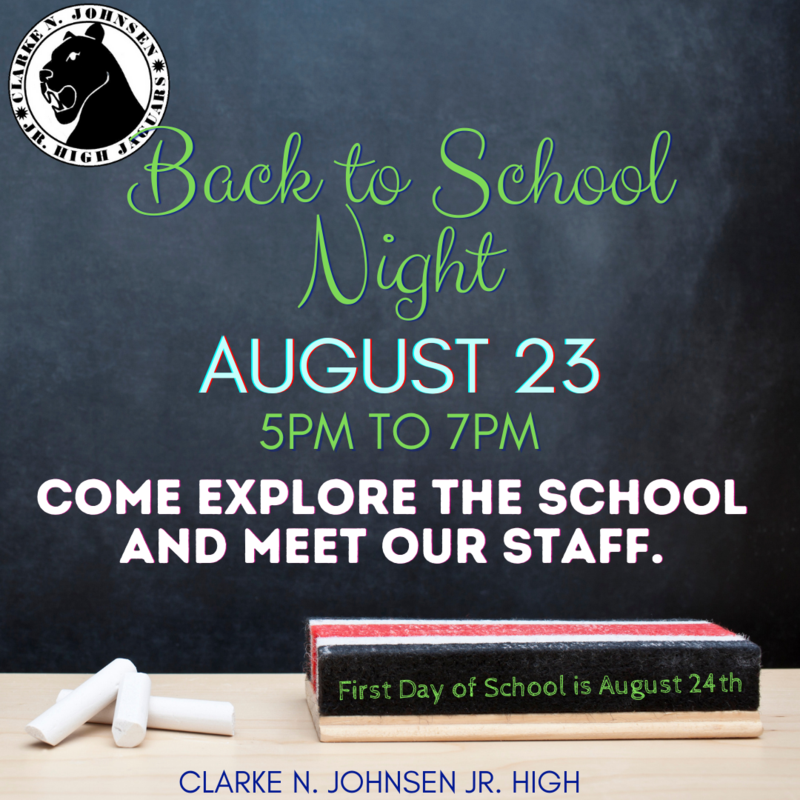 Back to School Night Monday 8/23 from 5 to 7PM.