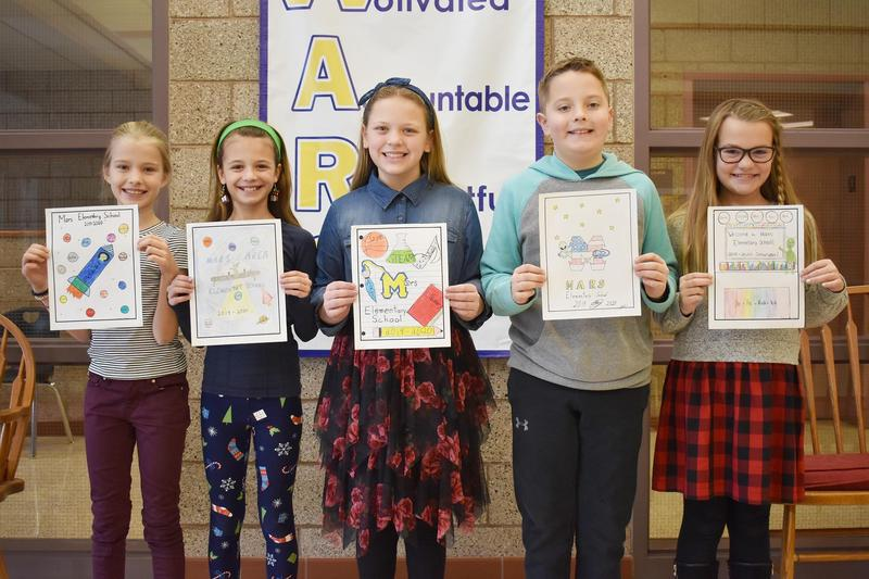 Mars Area Elementary School fourth-graders Emily Tillapaugh, Emma Gulnac, Emma Wagner, Jaxton Reibold and Sydney Banks were selected as the winners of the school's 2019-2020 Yearbook Cover Contest.