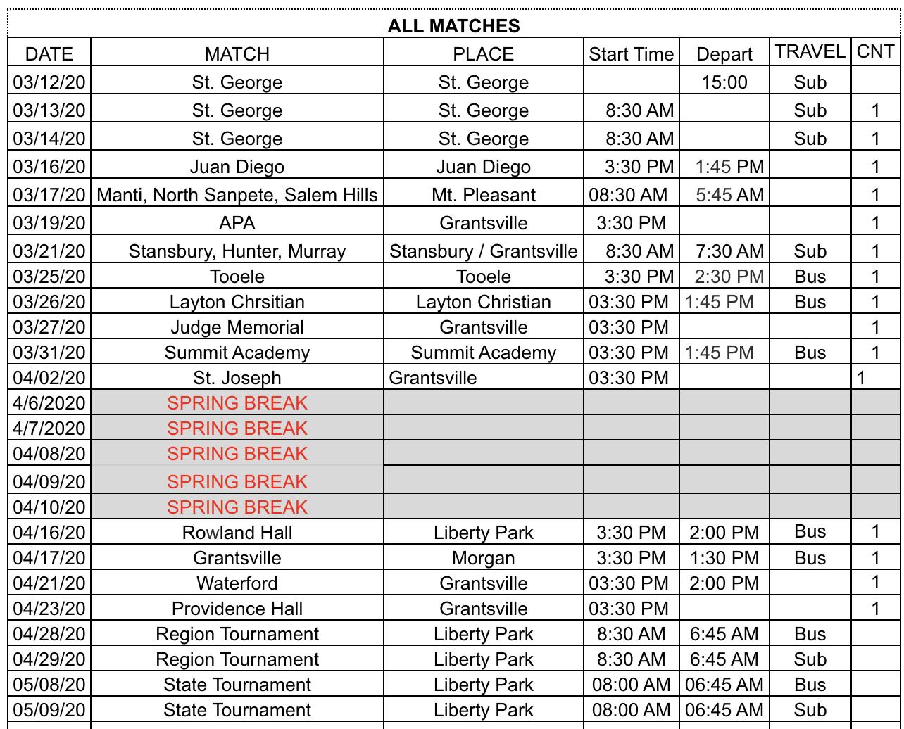 Tennis Schedule - updated 28 Feb 2020