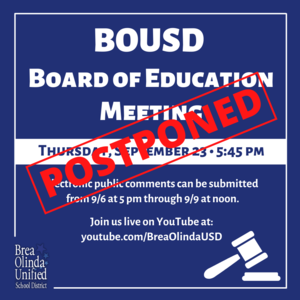 BOUSD Board Meeting September 23 Postponed