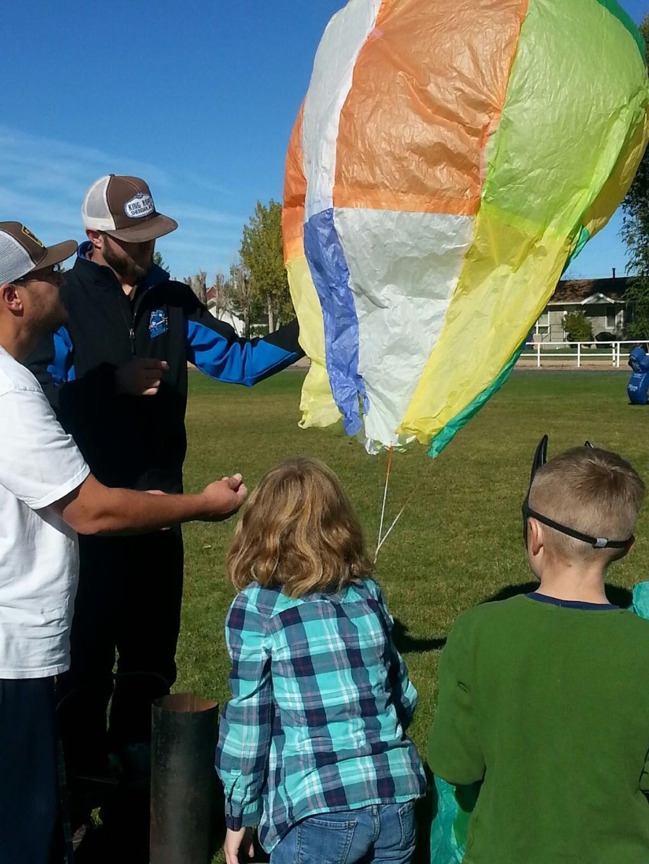 Mr. Hauptman's class launching a balloon