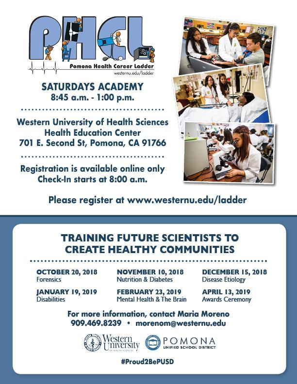 Pomona Health Career Ladder Flyer - Saturdays Academy Sign-Ups and Schedule