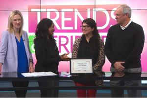 cristina barragan is seen doing a live interview on KLBK's trends and friends.
