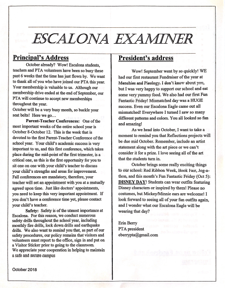 Escalona Examiner - October 2018 Featured Photo
