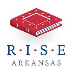 RISE Arkansas logo, with a red book in the center