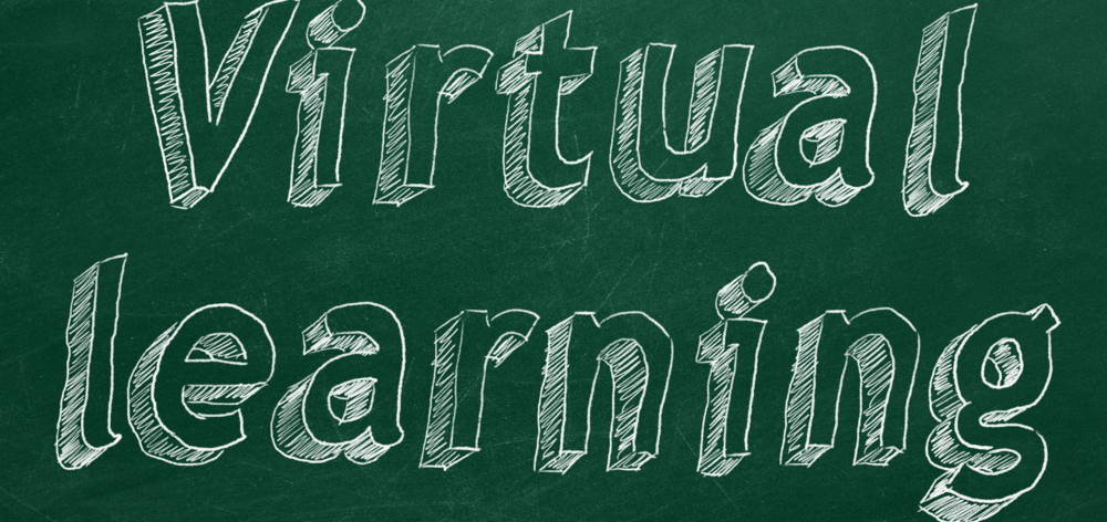 Virtual learning graphic chalkboard with white font.