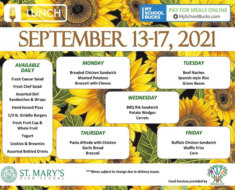 The weekly lunch menu for September 13-17