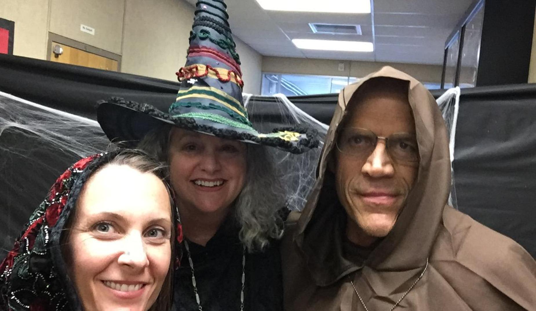 Three PHS teachers dressed for Halloween