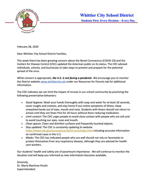 Coronavirus parent letter