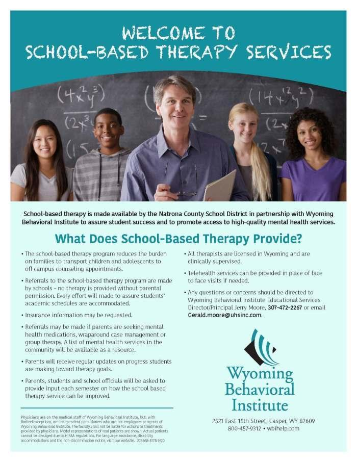 Wyoming Behavioral Institute School-Based Therapy flyer