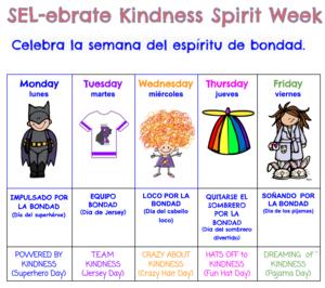 SEL week schedule in Spanish