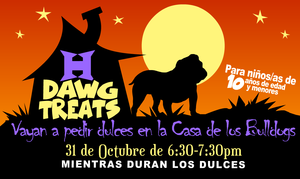 Flyer for Dawg Treats Event in Spanish