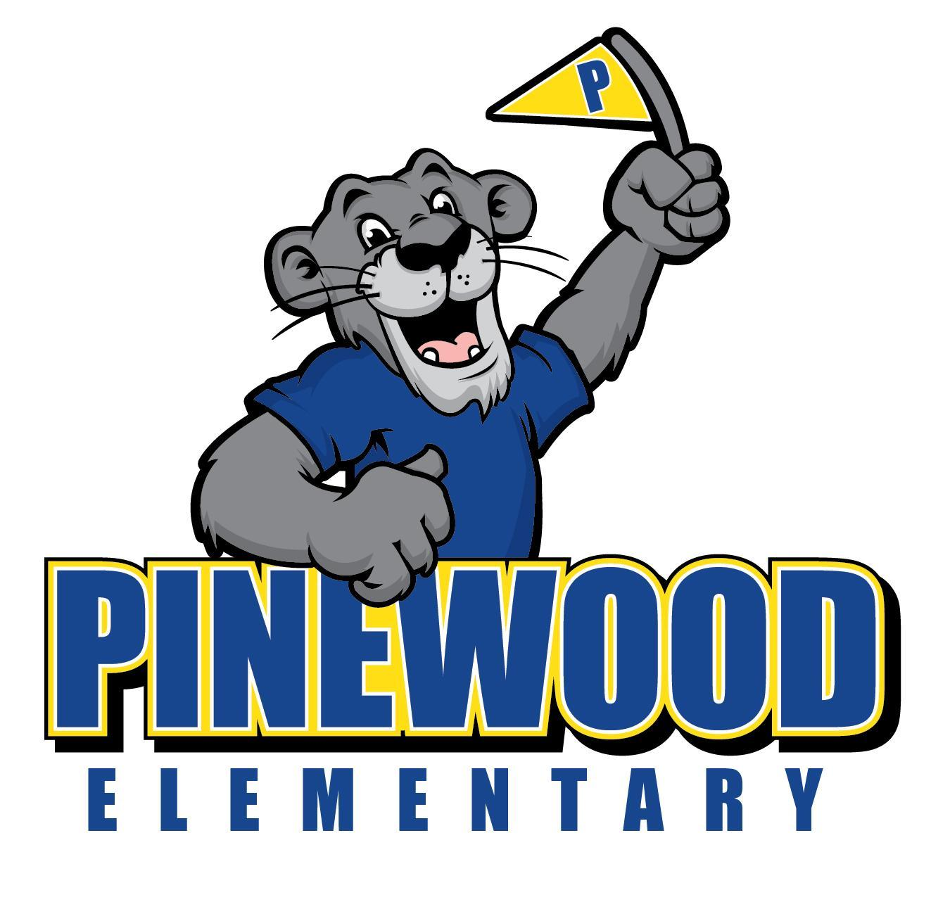 Pinewood Panther in a blue shirt holding a flag.