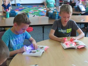 Students use laser pointers for reading.