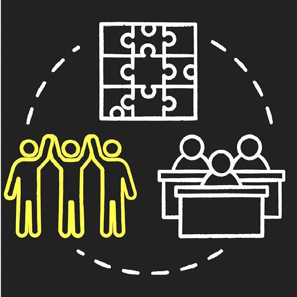 Full inclusion chalk color concept icon. Student group dynamics. Diverse community assistance. Inclusive education idea.