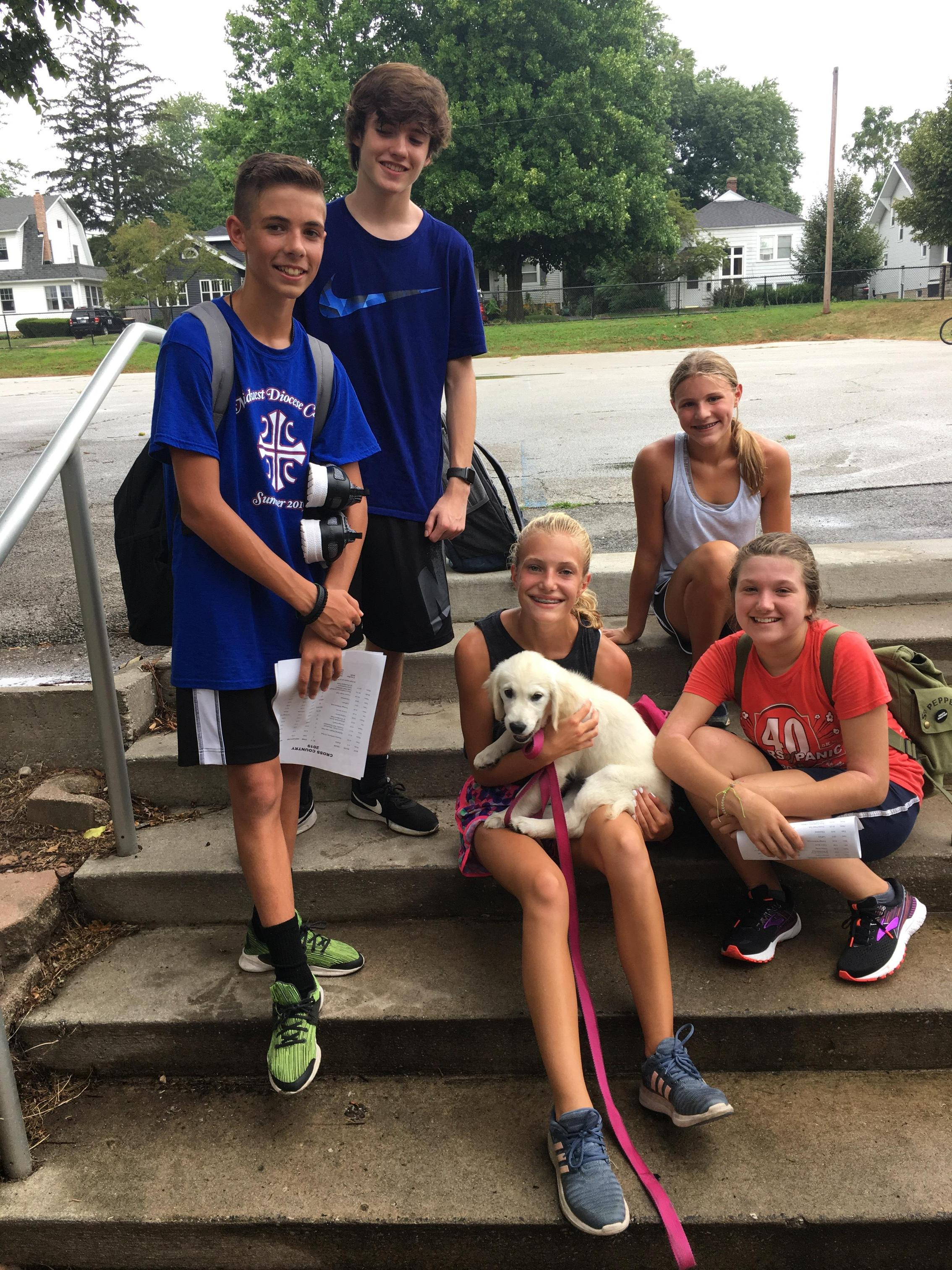 BFMS students greeted Viking Pup Zoe on the first day of school