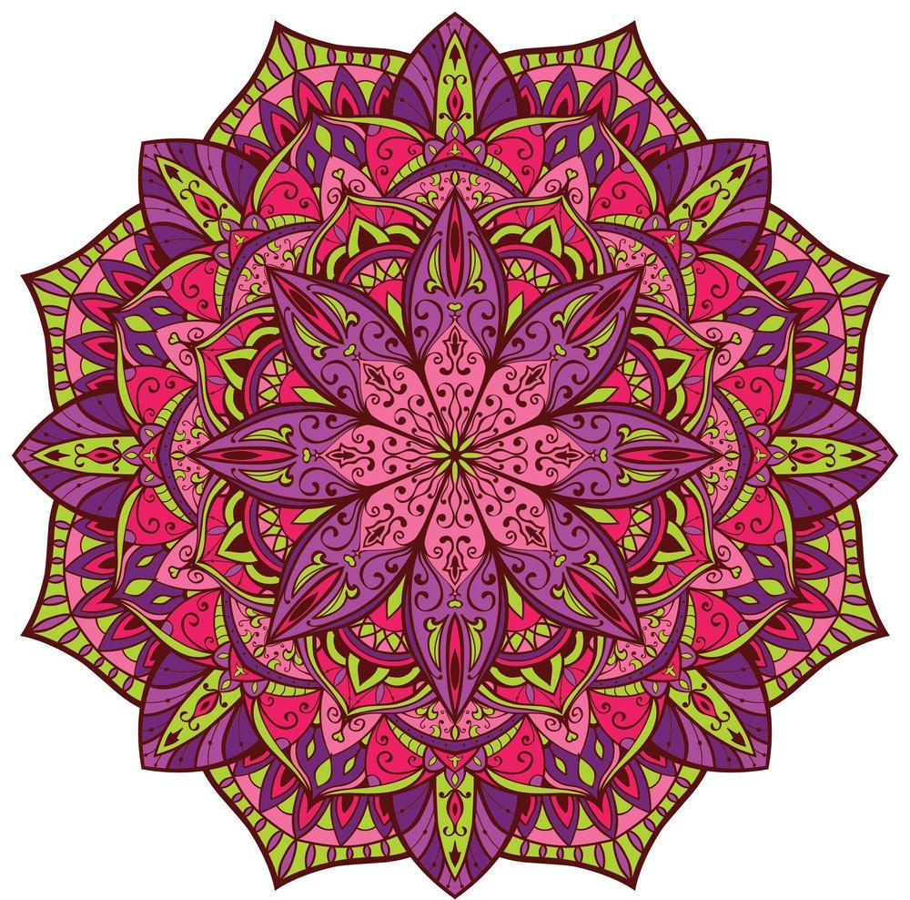 A colorful mandala featuring shades of pinks and purples