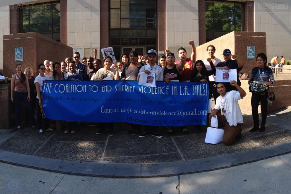 students outside the BOS office advocating to end sheriff violence
