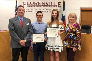 April Students of the Month with principal and board president