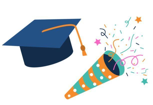 Graduation cap next to a party horn and confetti