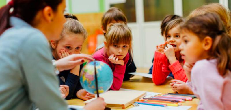 kids and teacher