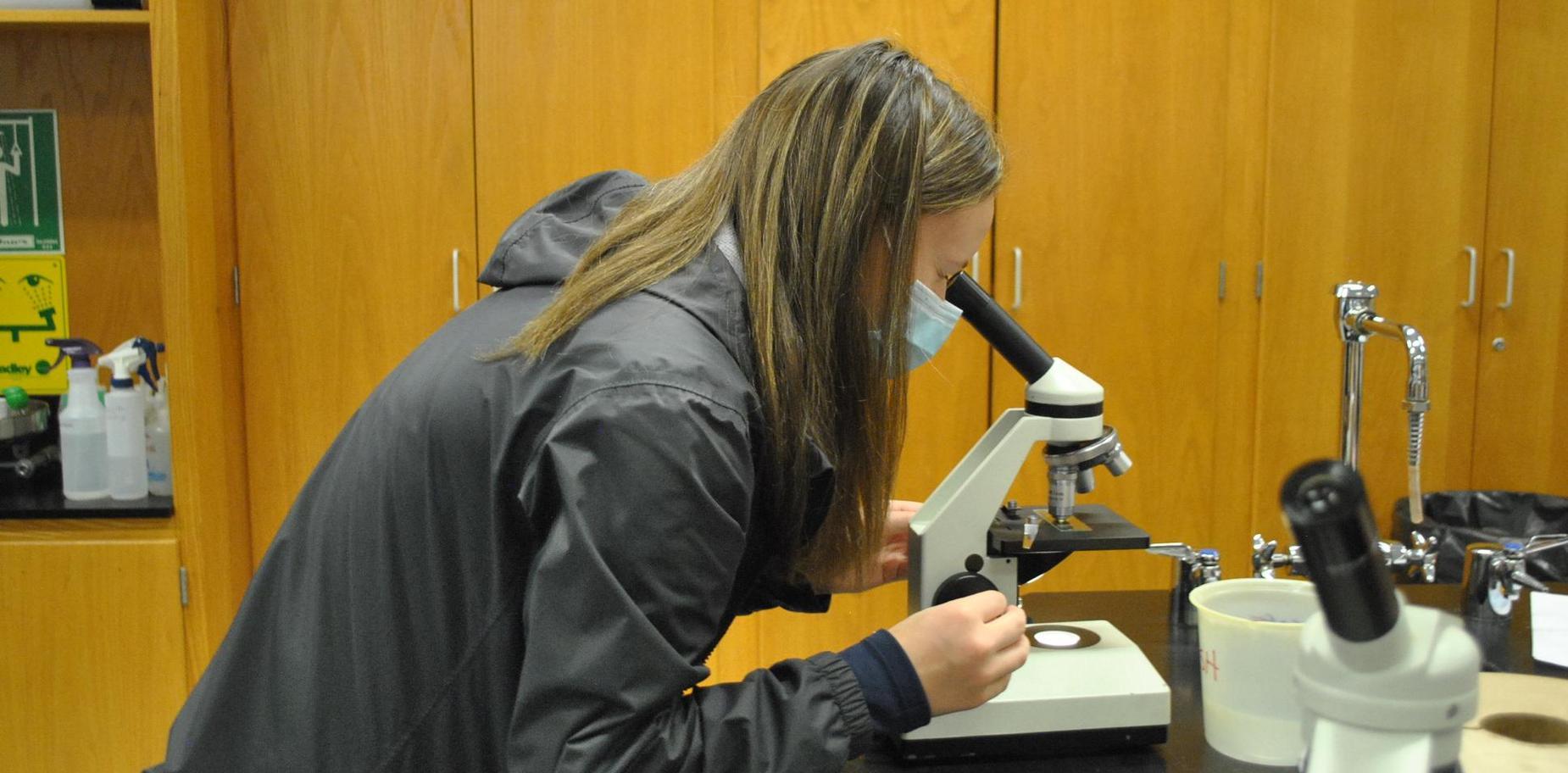 Student doing biology lab