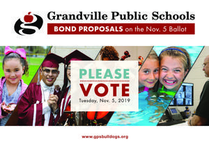 image of students with message Please Vote Nov. 5, 2019 on bond proposals