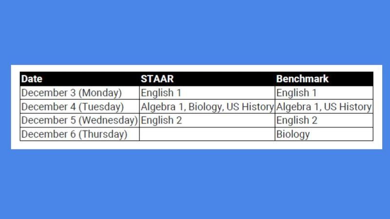 STAAR EOC's and Benchmarks Schedule Thumbnail Image