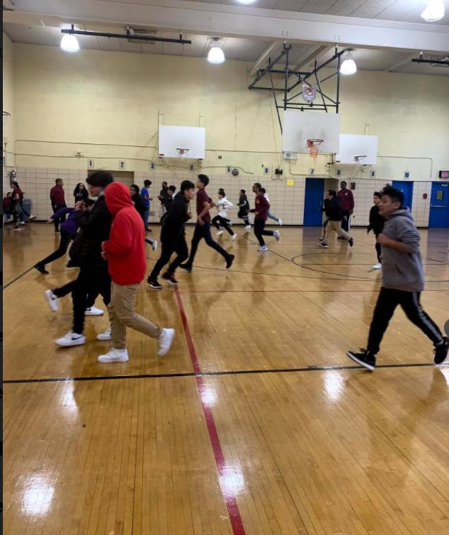 Students prepare for the Fitnessgram, the national fitness assessment youth program.
