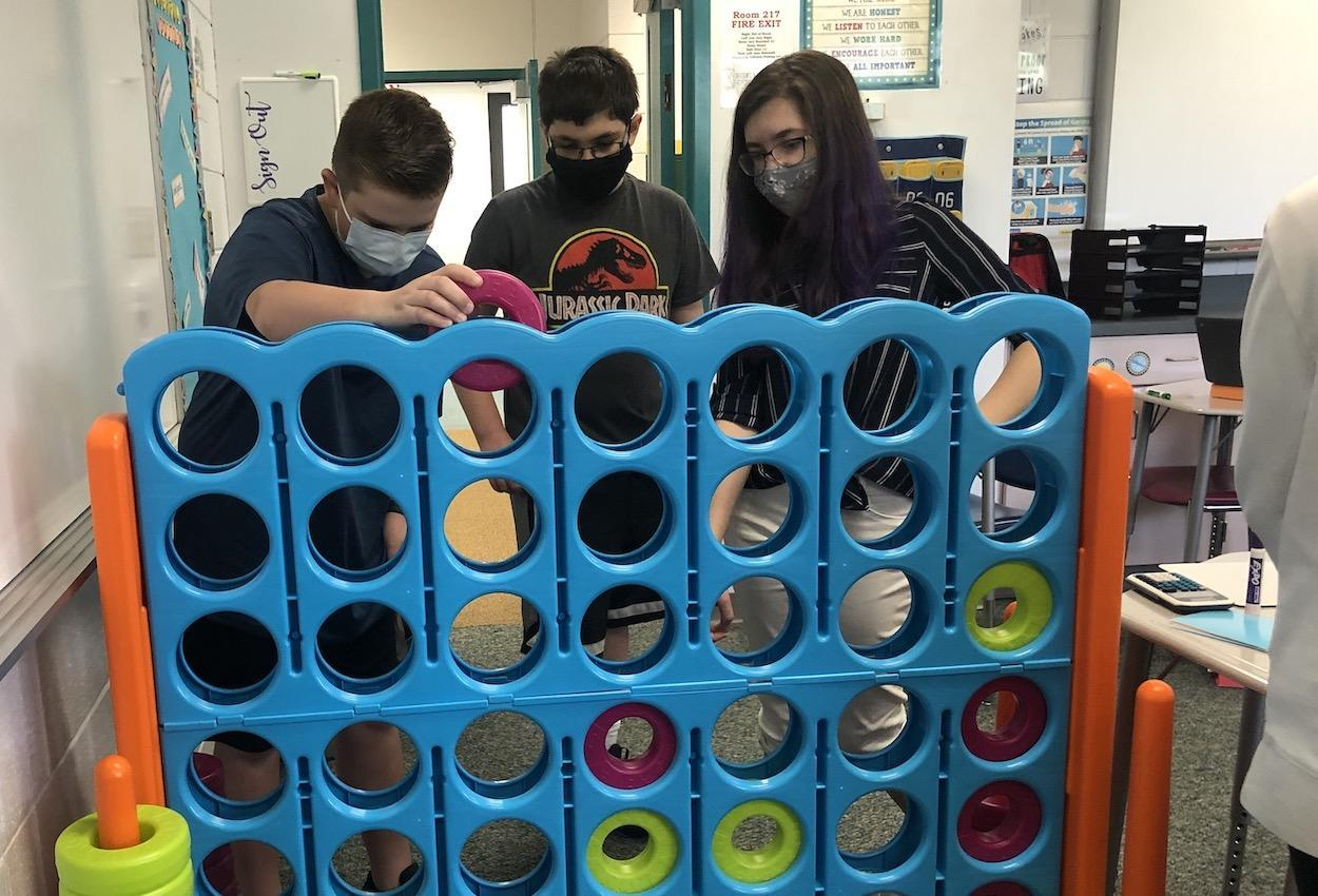 Students play a giant connect4 game