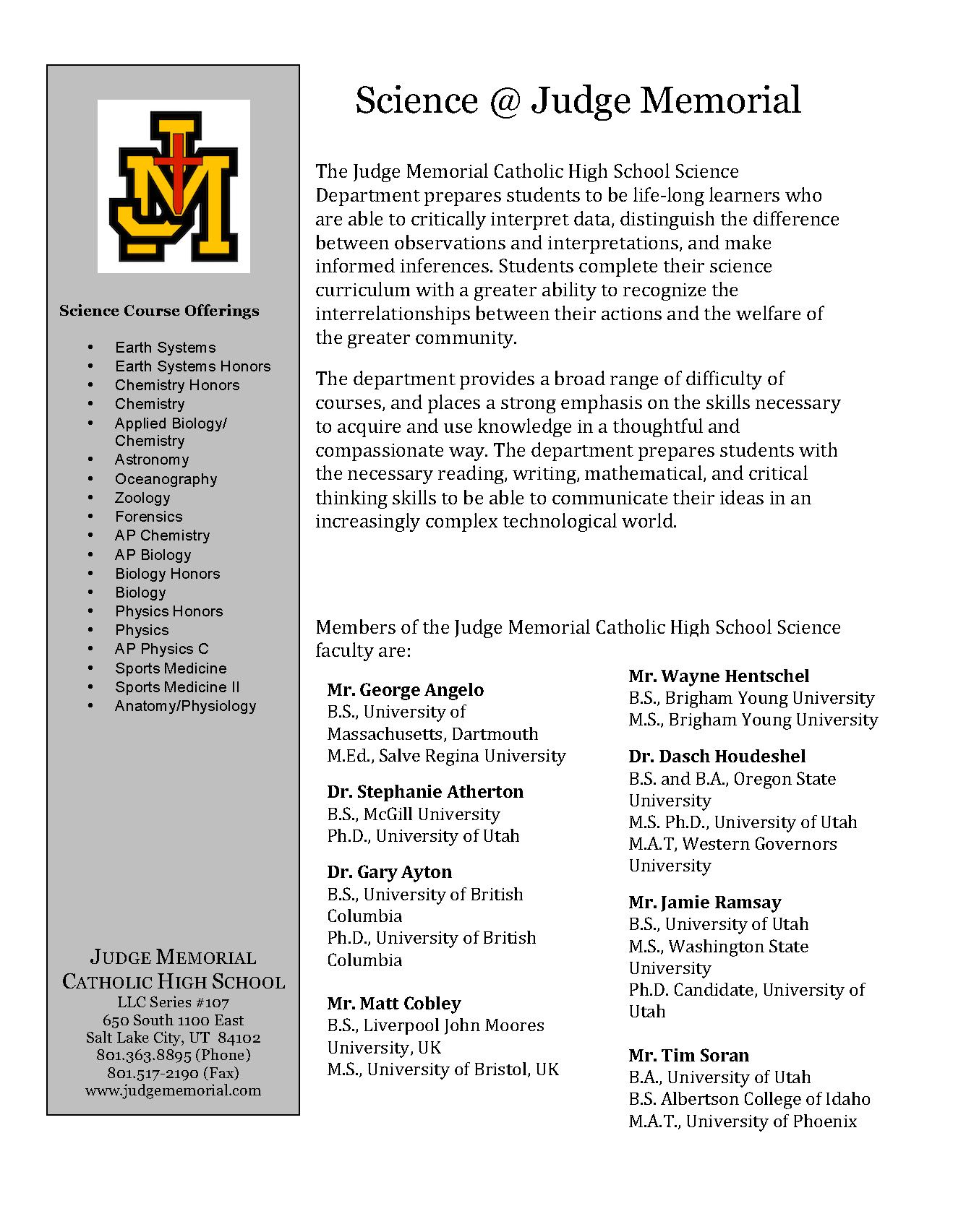 Science Judge Science Judge Memorial Catholic High School