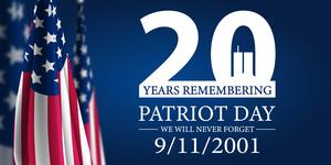 American Flag and 20th anniversary of 9/11