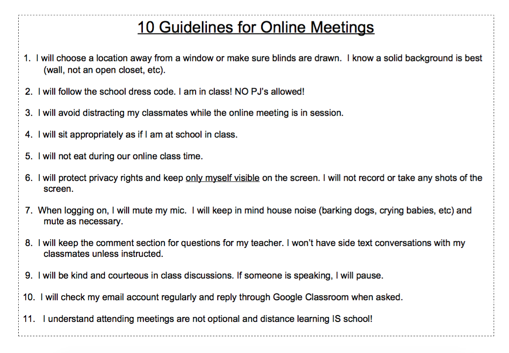 zoom guidelines for students