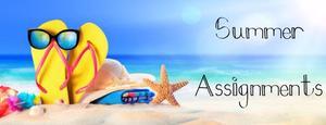 Summer Assignments Beach, flip flops and sun glasses