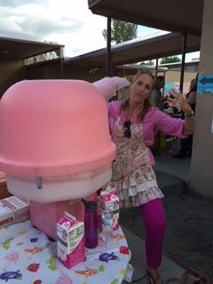 Mrs. Taylor-Campos making Cotton Candy at the Fall Festival