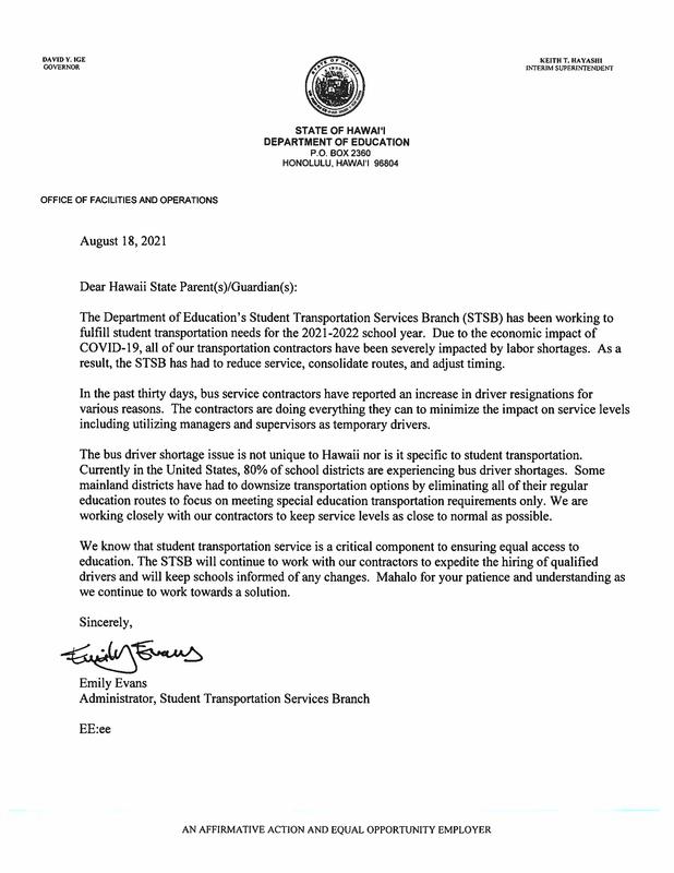 STSB Bus driver shortage letter