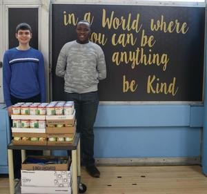 Students in front of food donation