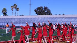 The Hemet High School Cheer Team cheered nice and loud for everyone.