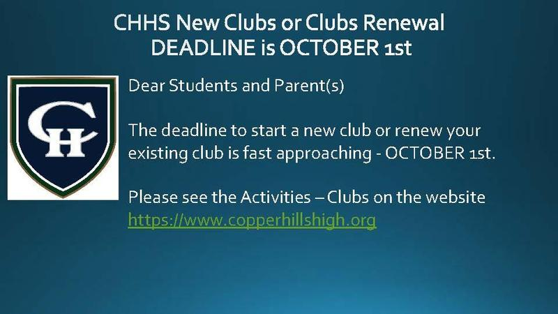 Club Deadline October 1st.