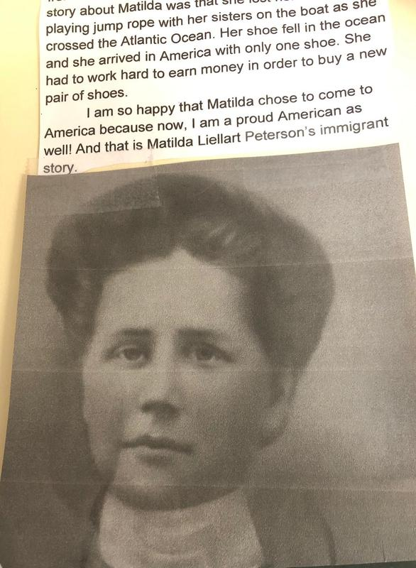 """A student example of """"My Family's Immigrant Story,"""" a cross-curricular project assigned to all fifth graders at McKinley that combined reading, writing, research, geography, technology, and other important skills."""