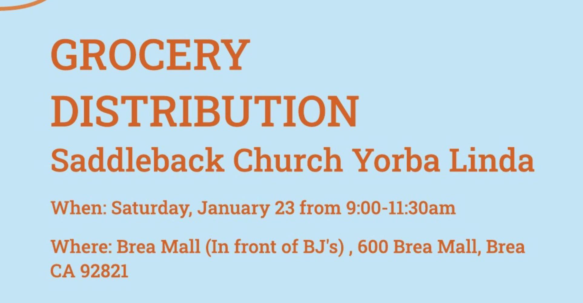Grocery Distribution at Saddleback Church in Yorba Linda on January 23
